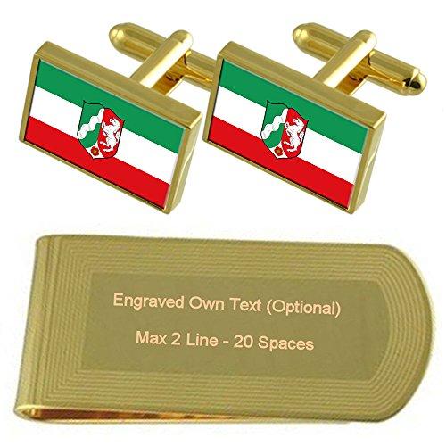 Westphalia Set Gift Rhine Cufflinks Flag Clip Money Engraved tone Gold State North 5TwtP