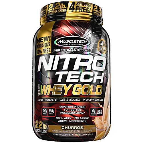 MuscleTech Nitrotech Whey Gold/Isolate/Peptides, Churro, 2.2 Pound