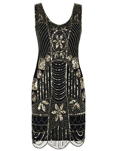 KAYAMIYA Women's Retro 20s Beaded Inspired Gatsby Flapper Plus Size Dress XXL Gold