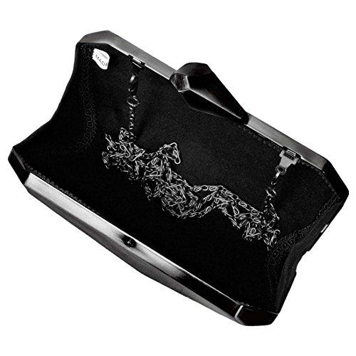 BMC Metal piedra de aleación de Abstract para mujer Fashion cadena de corte de embrague bolso de mano Funda impermeable para teléfono móvil Negro - Gunmetal Gray