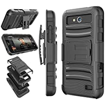 ZTE Maven Case, ZTE Overture 2 Case, Tekcoo® [Hoplite Series] [Black] Shock Absorbing Holster Locking Belt Clip Defender Heavy Kickstand Case Cover For ZTE Maven / Overture 2 / Speed / Fanfare