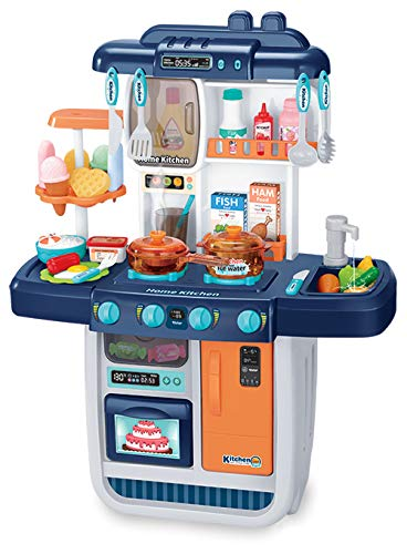 ARHA IINTERNATIONAL Kids Kitchen Playset with Realistic Lights & Sounds, Play Sink with Running Water,Dessert Shelf Toy & Kitchen Set for 2 3 4 5 6 Year Old Girls