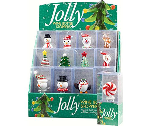 LS Arts Inc Jolly 12pc Bottle Stopper Display by LS Arts Inc