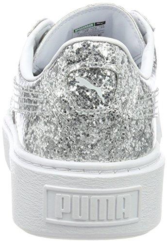 silver Puma Silver Gris Basses Basket Sneakers Platformglitter Femme Sfq4gx