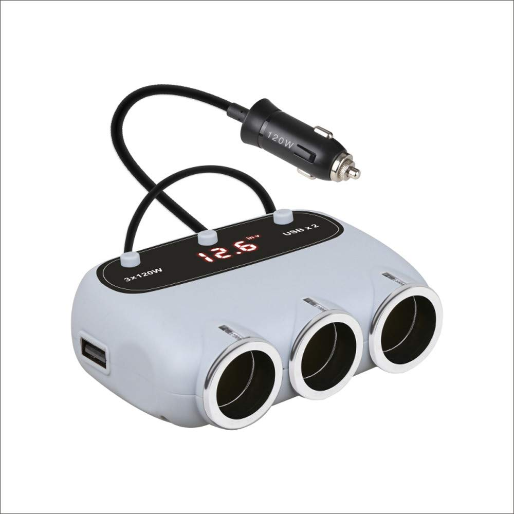 JP-DPP9 Car Charger Adapter, 3-Socket Cigarette Lighter Splitter 12V/24V 120W DC Outlet Splitter with2.4A 2-Port USB Car Charger with Concise LED Screen to Display for Various Cars (C)