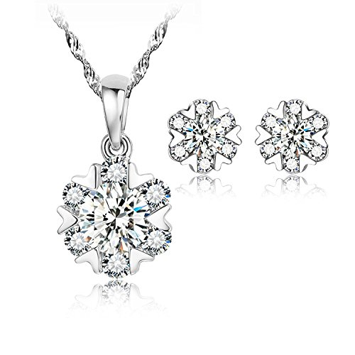 (sassu fine Snowflake Pendant Necklace Swarovski Zircon Jewelry for Women Girls Ideal Birthday Gifts for Daughter Granddaughter Girlfriend Mother Wife (Necklace and Studs Set))