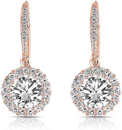 KHOBGLU Pendientes De Plata Pendientes De Diamantes De Plata para Mujer Pendientes Colgantes Redondos Pendientes De Regalo De Fiesta