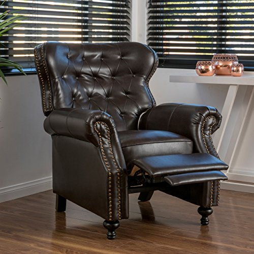 (Christopher Knight Home 296610 Deal Furniture Waldo Brown Leather Recliner Club Chair)