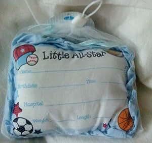 Little All-Star Birth Announcement Door Pillow with Pen