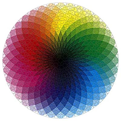 JORGELL 1000 Pcs Round Jigsaw Puzzles for Adults Teen Gradient Color Rainbow Large Round Jigsaw Puzzle Intellectual Game: Toys & Games