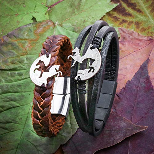 (Best Friend Horse Relationship Bracelets, Prancing and Rearing Horses, Hand Sewn Couples Bracelets, Woven Leather Bracelet for men and women, By NameCoins)