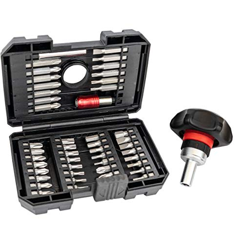 Ratcheting Screwdriver Kit Set - Ergonomic Stubby Ratcheting Screwdriver, Torque Assist - 48 in 1 with Rugged Case, Quick Release - Wrist Stress and Pain Relief - By I-RATCHET 2019 NEW