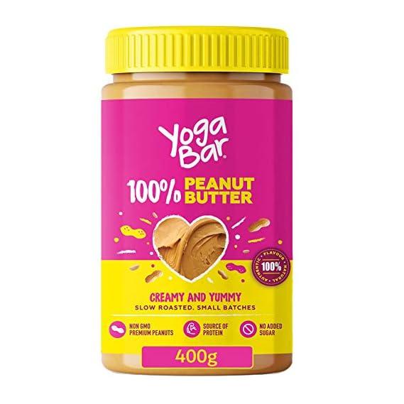 Yogabar 100% Pure Peanut Butter   Creamy & Yummy Unsweetened   Slow Roasted   Non-GMO Premium Peanuts   No Added Sugar 400g