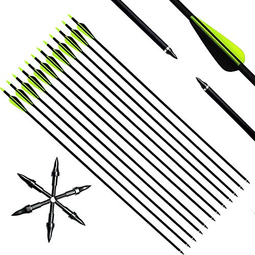 Narchery Recurve Bow Arrows, Carbon Hunting Arrows, Traditional Bow Arrows for Compound Bow, Long Bow, 12 Pcs