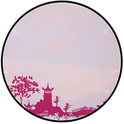 - Printing Round Rug,Asian,Traditional Pagoda in Pastel Colors Centre of Inner and Outer Peace Spiritual Theme Decorative Mat Non-Slip Soft Entrance Mat Door Floor Rug Area Rug For Chair Living Room,Pin