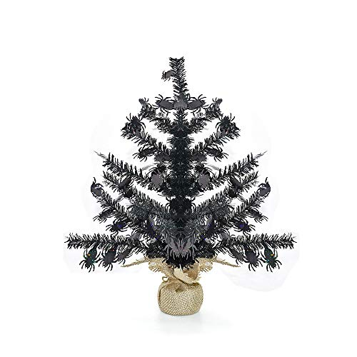 YuQi 17''Artificial Mini Tinsel Christmas Trees with Burlap Wrapped Base,Black Tabletop Fake Xmas Halloween Tree with Reflective Sequins and Shiny Spider for Halloween or Home Holiday Decor (Spider)