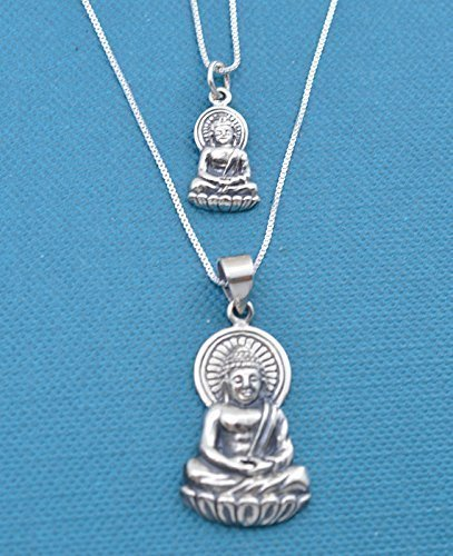 8e544425481 Amazon.com: Mother Daughter Buddha Necklace Set, sterling silver on ...