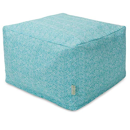 Majestic Home Goods Navajo Ottoman, Large, Teal
