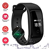 LogHog Fitness Tracker,IP67 Waterproof Sports Smart Wristband with Blood Oxygen Monitor/Blood Pressure/Heart Reate Monitor for Android Phone and iOS iPhone (Black)
