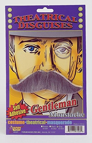 [Moustache Gentlemans Gray with Self Adhesive] (Costumes With Moustaches)