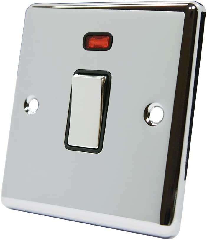 AET CPC20ASWIBC Polished Chrome Classical 20A DP Black Insert Metal Rocker Switch-20 Amp Double Pole Switch w//Neon Indicator