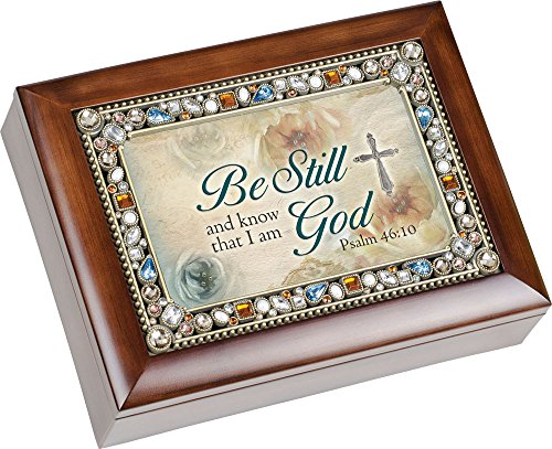 Be Still and Know That I am God Psalm 46:10 Religious Jeweled Musical Music Jewelry Box Dark Wood Finish Plays On Eagle's Wings