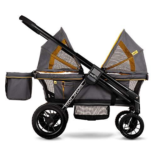 519Zfx T7IL - Evenflo Pivot Xplore All-Terrain Double Stroller Wagon, Adventurer Gray