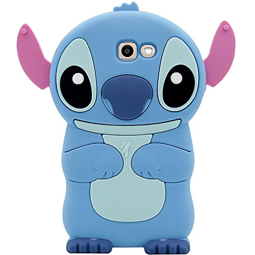for Samsung Galaxy J7 V / J7 2017 / J7 Prime / J7 Perx / J7 Sky Pro/Galaxy Halo Case, MC Fashion Cute 3D American Cartoon Stitch Soft Silicone Phone Case Skin (Blue) (Samsung Virgin Mobile Phone Cases)