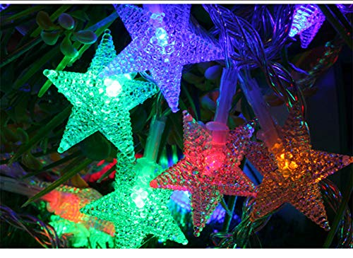 (Glumes LED Star String Lights Fairy Lights| 40LED/16.4ft | Hanging Indoor Outdoor Decoration for Christmas Party Xmas Wedding Holiday Birthday Garden Patio Bedroom Home Decor Battery Powered (Multicolor))