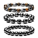 Top Plaza Men's Women's Hematite Metal Magnetic Therapy Bracelets Natural Healing Gemstone Beads Stretch Elastic Bracelet(Set of 3)