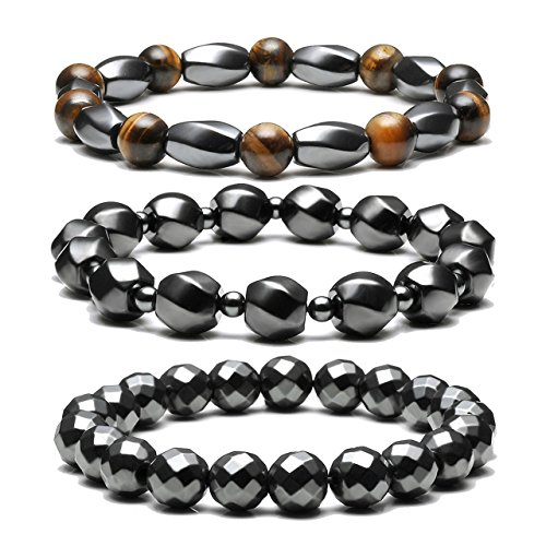 Top Plaza Men's Women's Hematite Metal Magnetic Therapy Bracelets Natural Healing Gemstone Beads Stretch Elastic Bracelet(Set of ()