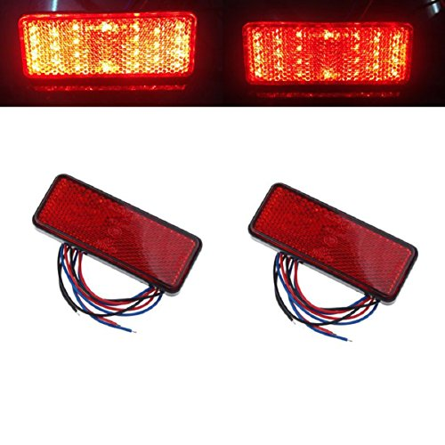 Doinshop 2x Universal Car Red Lamp Bulb ATV SUV 12v Red 24 LED Stop Fog Tail Brake Light (Small Led Lights For Cars compare prices)