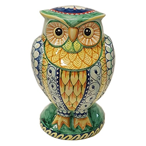 Ceramiche d'arte Parrini - Big Owl Figurine Hand Painted Deruta Ceramic Art Pottery