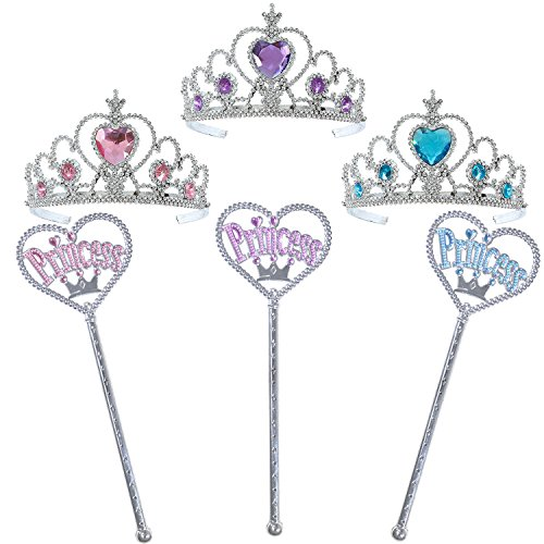 Set of 3 Pretty Princess Tiara Crown And Wand Costume Accessories Novelty Dress Up Pretend Play Party Favor Decor Supplies For Kids Children Toddlers Girls For Halloween Birthday Wedding Bridal Shower - Tiana Costume Diy