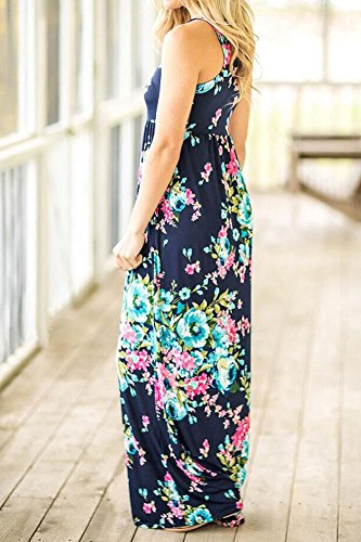 Estampados Largos Playa Fiesta Mujer Cintura Vestidos Cuello Redondo Verano con Largo Vestido Elegantes Vestidos Vintage Alta Maxi Sin Mangas Casual Azul De Boho BOLAWOO Bolsillo Flores Marino SCxB0S