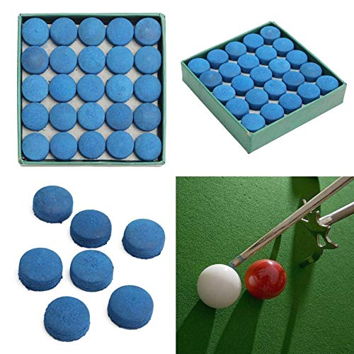 LIUSHUI 50Pcs Glue-on Pool Billiards Cue Tips Box Game Sport Leather Blue 9mm 10mm 13mm 13mm