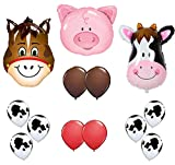 Farm Animal Balloons 36'' Cow Donkey And Pig With 12'' Helium Quality Latex Balloons Red Brown And Cow Print Balloons- Total Of 39 Count.