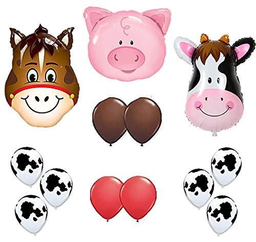 Farm Animal Balloons 36'' Cow Donkey And Pig With 12'' Helium Quality Latex Balloons Red Brown And Cow Print Balloons- Total Of 39 Count. by Mother&Fabulous