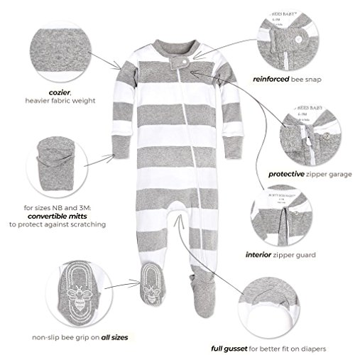 Large Product Image of Soft Organic GOTS Certified Stripe Zip Front Non-Slip Footed Sleeper Pajamas