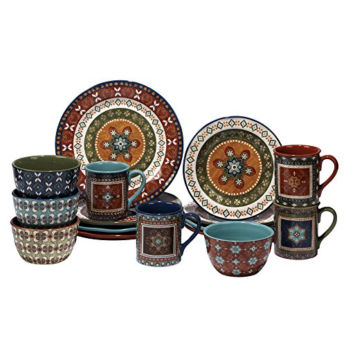 Certified International 89114 Monterrey 16 pc. Dinnerware Set, Service for 4, Multicolored ()