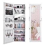 (US STOCK)Wooden Lockable Lockable Jewelry Cabinet Wall Door Mounted Armoire Organizer Storage,Jewelry Cabinet Makeup Armoire with Mirror (White)