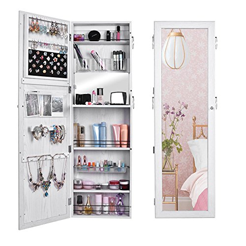 (US STOCK)Wooden Lockable Lockable Jewelry Cabinet Wall Door Mounted Armoire Organizer Storage,Jewelry Cabinet Makeup Armoire with Mirror (White) (Armoire Or Wardrobe Difference)