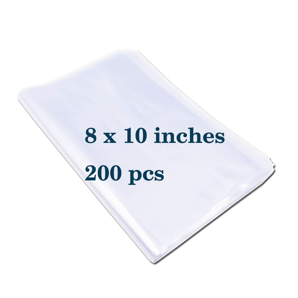 Shrink Wrap Bags Heat Shrink Wrap PVC Material 200 Packs 8 x 10 Inches Clear