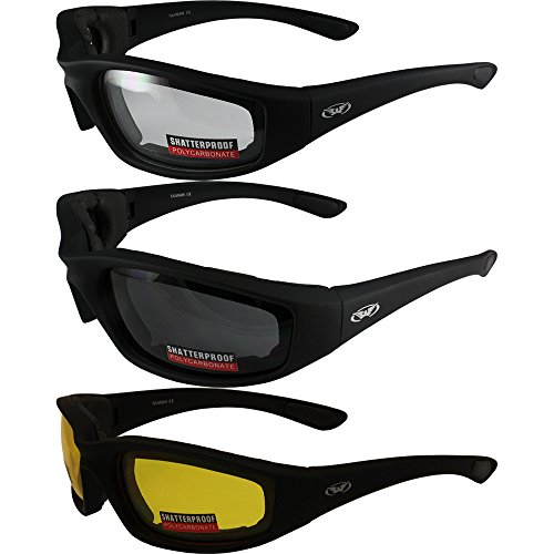 (3 Pairs of Global Vision Kickback Black Foam Padded Motorcycle Riding Sunglasses 1 Clear Lens 1 Smoke Lens and 1 Yellow Lens )