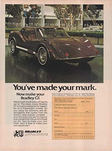 """Magazine Print Ad: 1976 Bradley GT Sports Car Kit Car, Fiberglass Body for VW chassis,""""You've made your mark"""""""