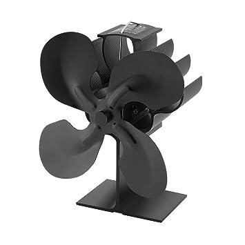 Ventilador de estufa accionado por calor de 4 cuchillas Sairis para leña/ estufa de leña/chimenea - Eco (negro): Amazon.es: Bricolaje y herramientas
