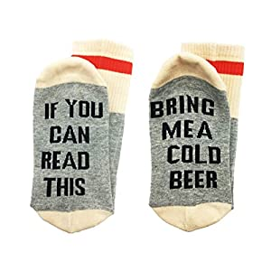 ALNDA Christmas IF You Can Red This PLEASE Bring Me A Glass Of Wine Beer Coffee Unisex Socks (Grey Beer)