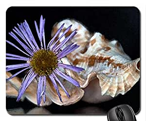 Flower and shell Mouse Pad, Mousepad (Flowers Mouse Pad, Watercolor style) by mcsharks