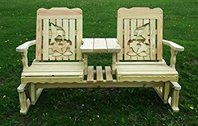 5 Foot Pressure Treated Pine Designs Outdoor Hummingbird Cutout Settee Glider