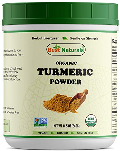 Best Naturals Certified Organic Turmeric Curcumin Powder 8.5 OZ (240 Gram), Non-GMO Project Verified & USDA Certified Organic